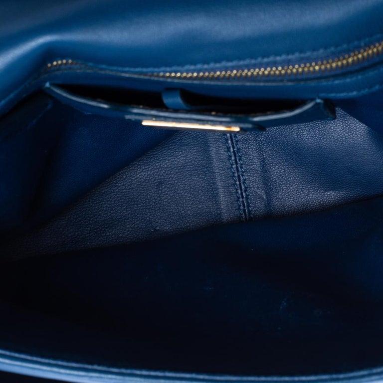 Fendi Blue Leather Be Baguette Shoulder Bag For Sale 8