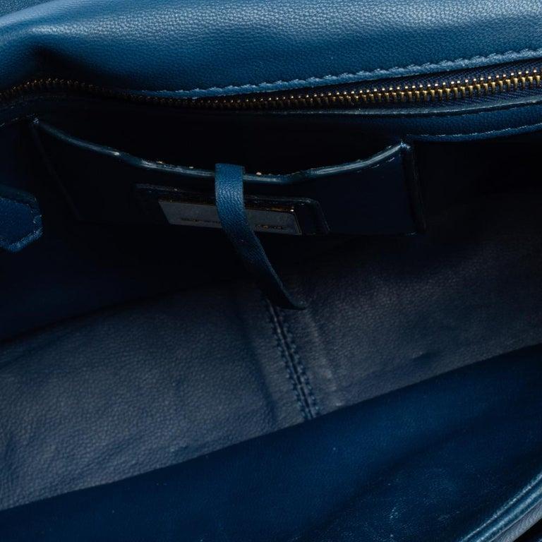Fendi Blue Leather Be Baguette Shoulder Bag For Sale 9