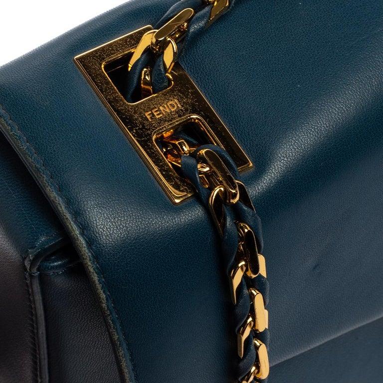 Fendi Blue Leather Be Baguette Shoulder Bag For Sale 11