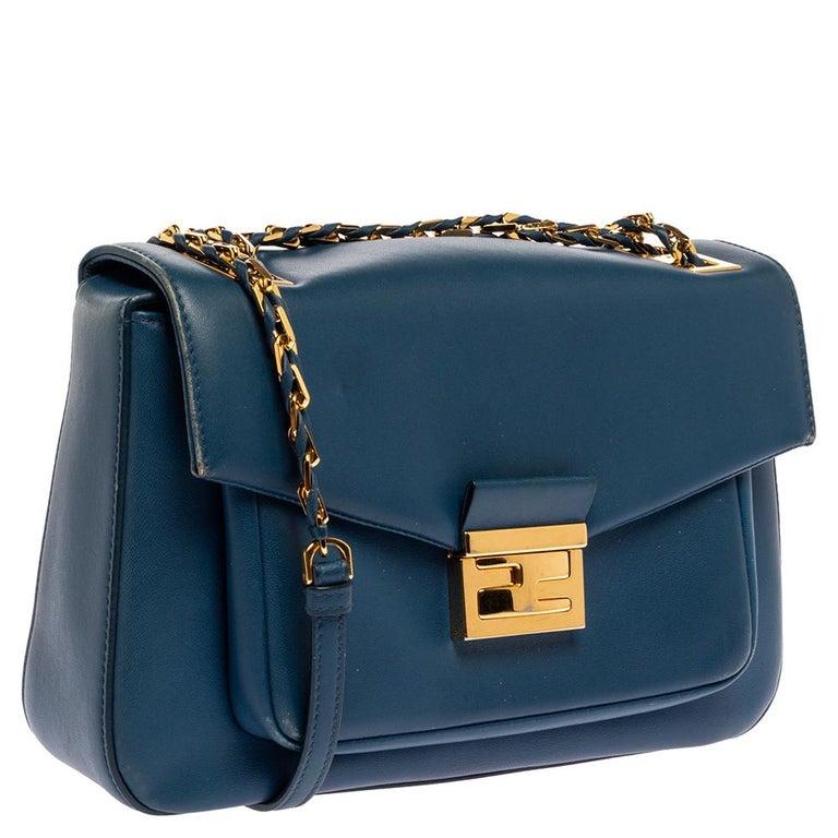 Women's Fendi Blue Leather Be Baguette Shoulder Bag For Sale