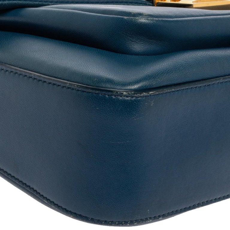 Fendi Blue Leather Be Baguette Shoulder Bag For Sale 2