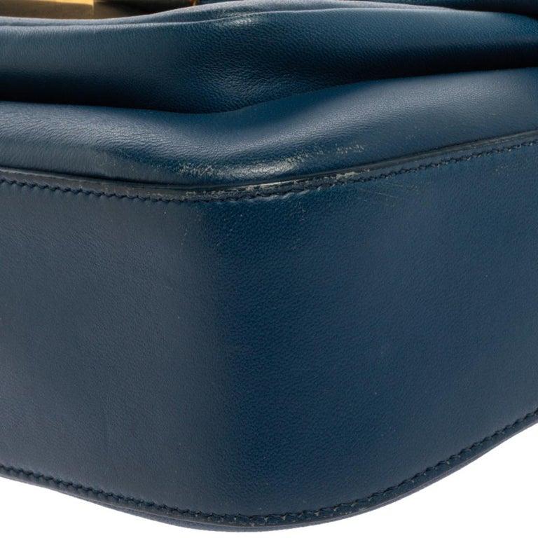 Fendi Blue Leather Be Baguette Shoulder Bag For Sale 3