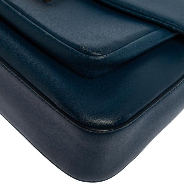 Fendi Blue Leather Be Baguette Shoulder Bag For Sale 4