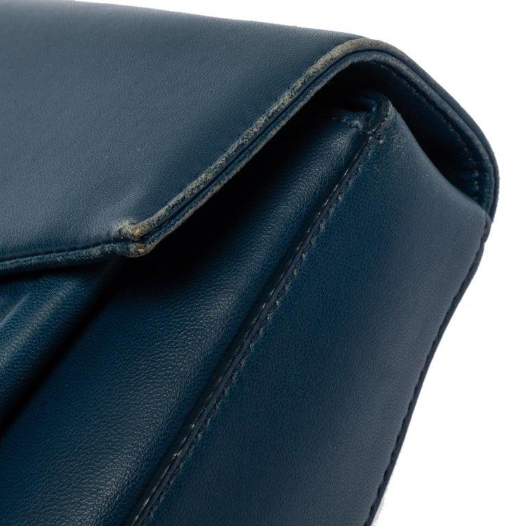 Fendi Blue Leather Be Baguette Shoulder Bag For Sale 5