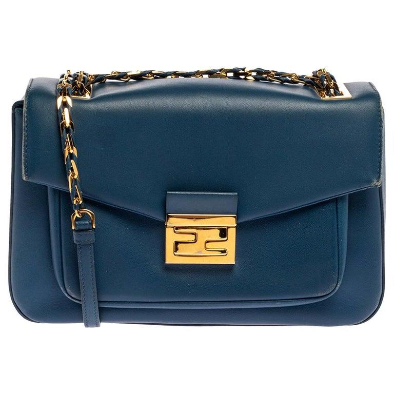 Fendi Blue Leather Be Baguette Shoulder Bag For Sale