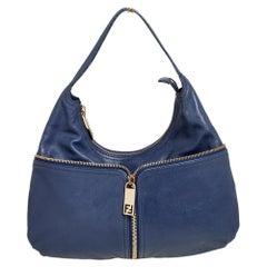Fendi Blue Leather Front Zip Hobo