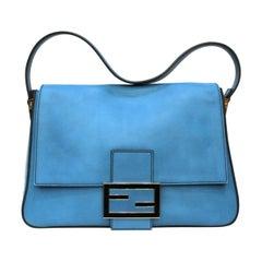 Fendi Blue Leather Mamma Baguette Bag