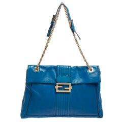 Fendi Blue Leather Maxi Baguette Flap Shoulder Bag