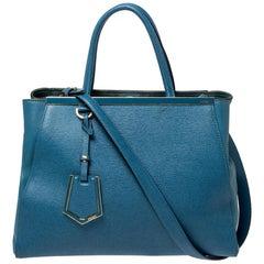 Fendi Blue Leather Medium 2Jours Tote
