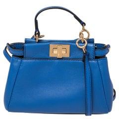 Fendi Blue Leather Micro Peekaboo Crossbody Bag