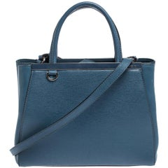 Fendi Blue Leather Mini 2Jours Tote