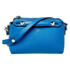Fendi Blue Leather Mini By The Way Crossbody Bag