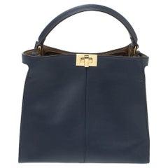 Fendi Blue Leather Peekaboo X-Lite Top Handle Bag