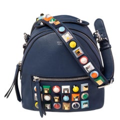Fendi Blue Leather Pyramid Studded Backpack Style Shoulder Bag