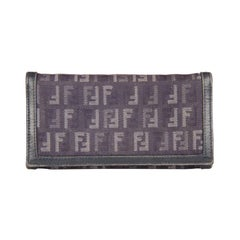 Fendi Blue Monogram Canvas Continental Long Wallet