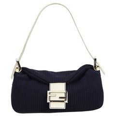 Fendi Blue Navy Wool Fabric Baguette Italy