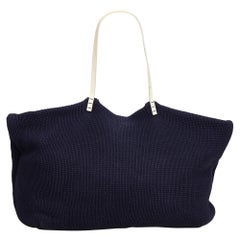 Fendi Blue Navy Wool Fabric Tote Bag Italy