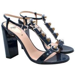 Fendi Blue Patent Studded Block Heel Sandals - Size EU 37