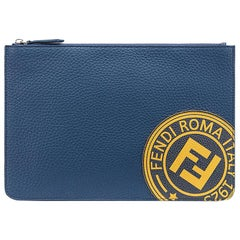 Fendi Blue Roman Leather Slim Zipped Pouch