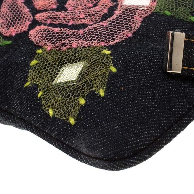 Fendi Blue Rose Embroidered Denim Baguette 5