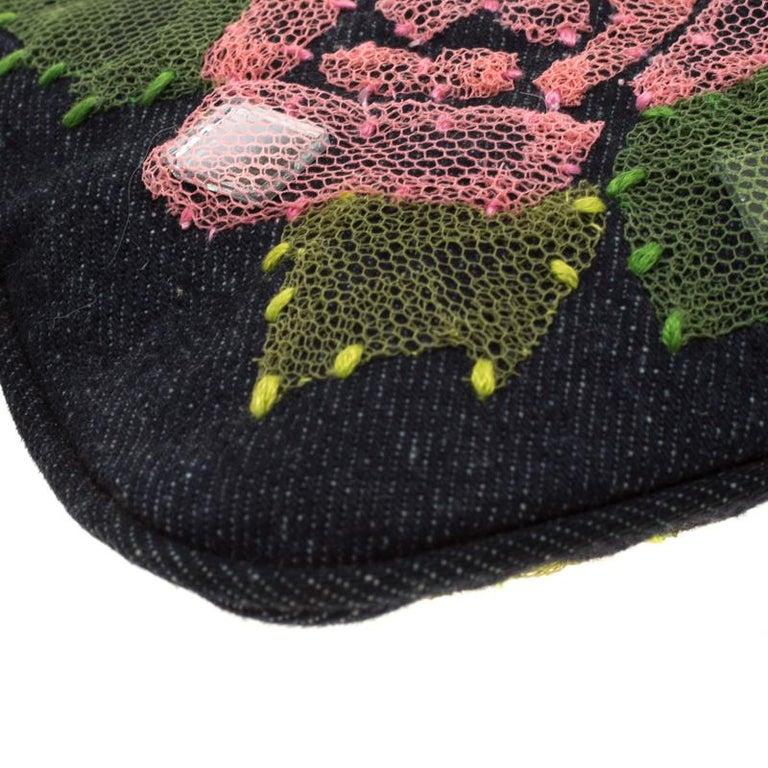 Fendi Blue Rose Embroidered Denim Baguette 6