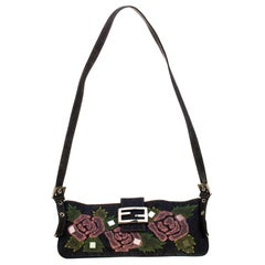 Fendi Blue Rose Embroidered Denim Baguette