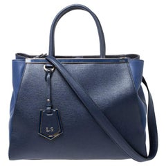 Fendi Blue Saffiano Leather Medium Sac 2jours Elite Tote