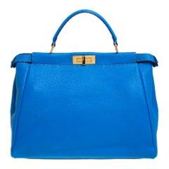 Fendi Blue Selleria Leather Large Peekaboo Top Handle Bag