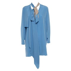 Fendi Blue Silk Neck Tie Detail Draped Asymmetrical Dress S