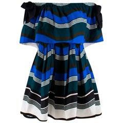 Fendi Blue Striped Bardot Skater Mini Dress M 44