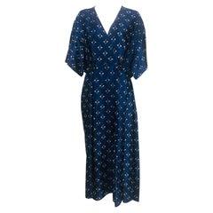 Fendi Blue & White Silk Wrap Effect Handkerchief Sleeve Loose Fit Pleated Dress