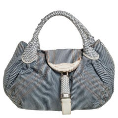 Fendi Blue/White Striped Fabric and Leather Trim Spy Tote