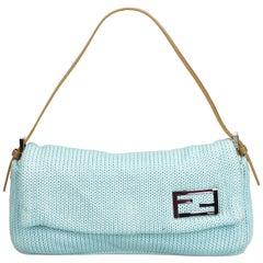 Fendi Blue Wool Baguette