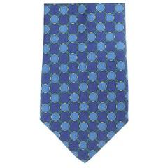 Fendi Blue Yellow Silk Classic Geometric Evening Tie