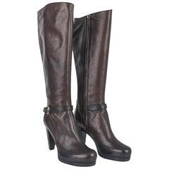 Fendi Boots Platform Knee High Dark Brown 39.5 / 9.5