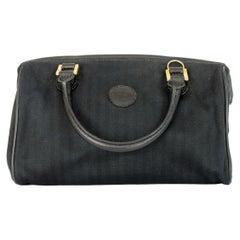 Fendi Boston Black Canvas Leather Mini Bag 1980s