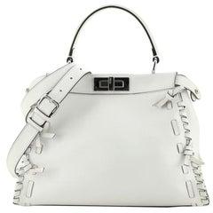 Fendi Bow Peekaboo Bag Whipstitch Leather Regular
