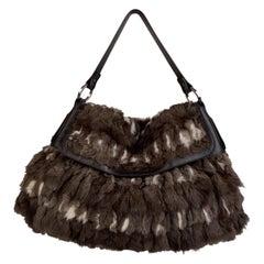 Fendi Brown and Black Lapin Fur Leather Chef Large Shoulder Bag