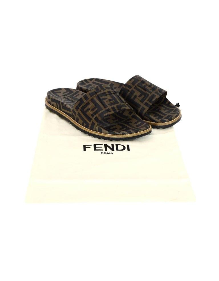 a4c075cd795d Fendi Brown Black Men s Unisex Monogram Rubber Slide Sandals W  Raised Logo  Detail Sz