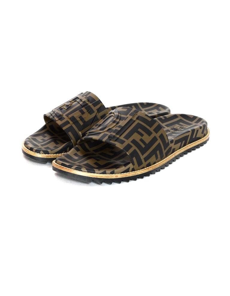 b612de9aac01 Fendi Brown Black Men s Unisex Monogram Rubber Slide Sandals W  Raised Logo  Sz 9