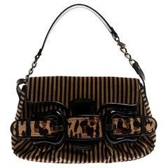 Fendi Brown/Black Striped Velvet and Calfhair B Bis Shoulder Bag