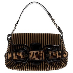 Fendi Brown/Black Striped Velvet and Calfhair B Bis Shoulder Bag