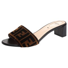 Fendi Brown/Black Velvet and Leather Open Toe Sandals Size 37