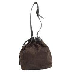 Fendi Brown & Black Zucca Bucket Bag