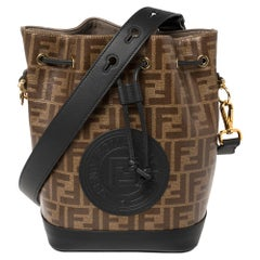 Fendi Brown/Black Zucca Coated Canvas and Leather Mon Tresor Bucket Bag