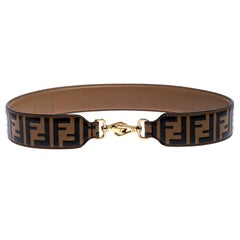 Fendi Brown/Black Zucca Leather Strap You Bag Strap