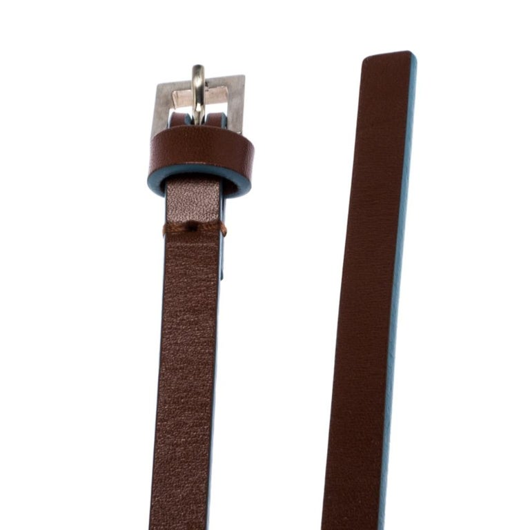 Women's Fendi Brown/Blue Leather Slim Buckle Belt 85CM For Sale