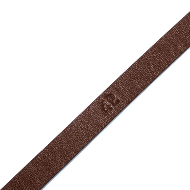 Fendi Brown/Blue Leather Slim Buckle Belt 85CM For Sale 1