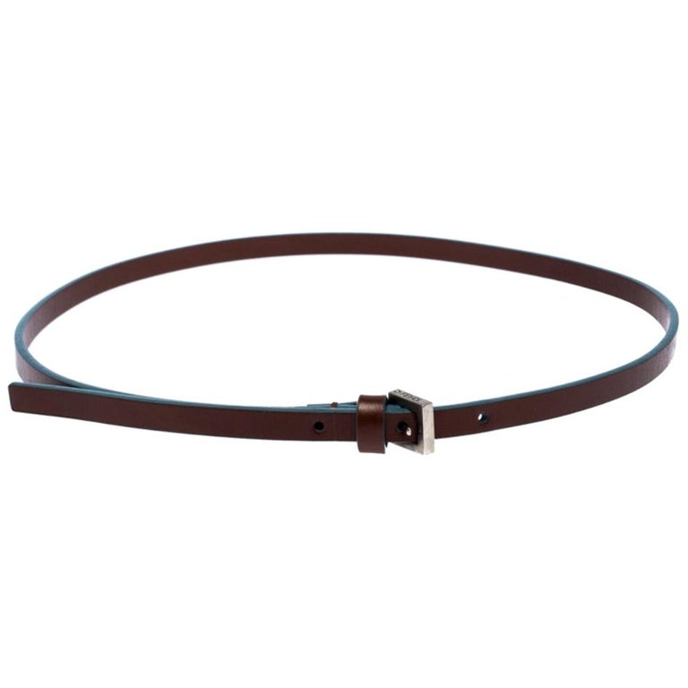 Fendi Brown/Blue Leather Slim Buckle Belt 85CM For Sale