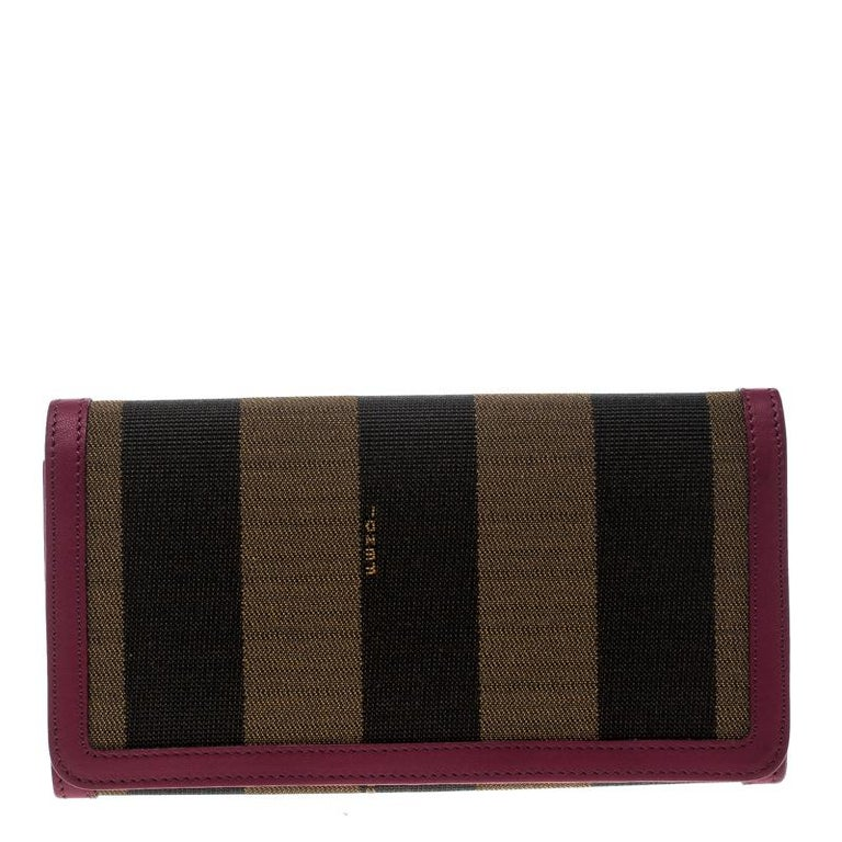 27a65223c1cc Fendi Brown Burgundy Pequin Canvas and Leather Continental Wallet For Sale